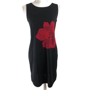 Casual Corner Black Sleeveless Sheath Dress Flower